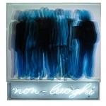 Non luoghi-Sezioni spazio, 2013. Serigrafia su plexi e su tela e neon-cm. 97x91