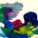 Quinggang Xiang - La libertà? - Acquerello e sale su carta, cm 24x32